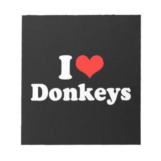I LOVE DONKEYS png Notepad