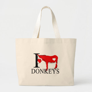 I Love Donkeys Tote Bags