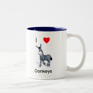 I love donkeys Two-Tone coffee mug