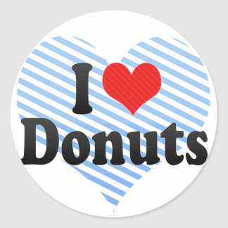 I Love Donuts Classic Round Sticker