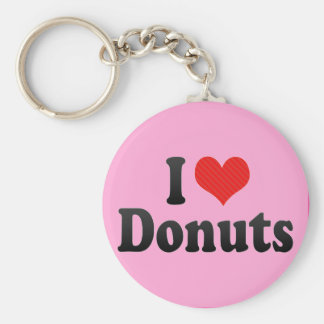I Love Donuts Basic Round Button Keychain