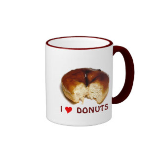 I Love Donuts Ringer Coffee Mug