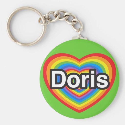I love Doris. I love you Doris. Heart Key Chain