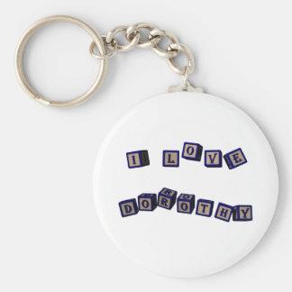 I love Dorothy toy blocks in blue Basic Round Button Keychain