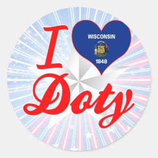 I Love Doty, Wisconsin Classic Round Sticker