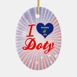 I Love Doty, Wisconsin Double-Sided Oval Ceramic Christmas Ornament