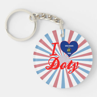 I Love Doty, Wisconsin Single-Sided Round Acrylic Keychain