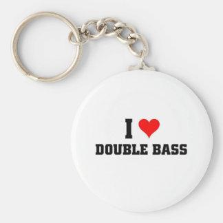 I love Double Bass Basic Round Button Keychain