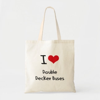 I Love Double Decker Buses Tote Bags