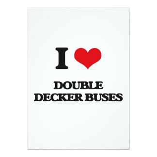 I love Double Decker Buses 5x7 Paper Invitation Card