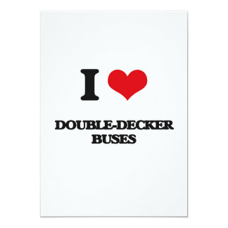 I love Double-Decker Buses 5x7 Paper Invitation Card