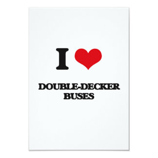 I love Double-Decker Buses 3.5x5 Paper Invitation Card