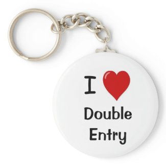 I Love Double Entry keychain