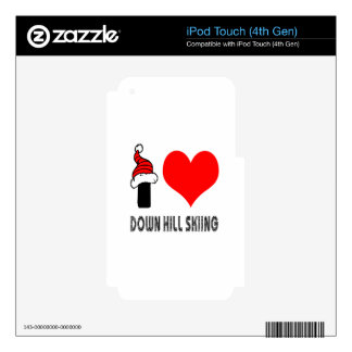 I Love Down Hill Skiing Design iPod Touch 4G Skin