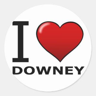 I LOVE DOWNEY,CA - CALIFORNIA CLASSIC ROUND STICKER