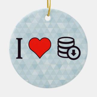 I Love Downloading Data Ceramic Ornament