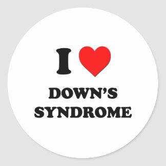 I Love Down's Syndrome Classic Round Sticker