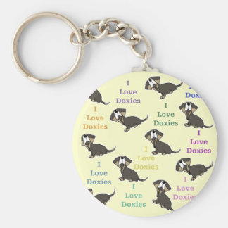 I Love Doxies collage Keychain