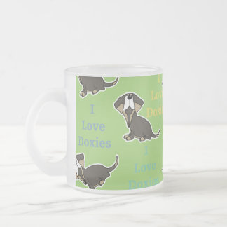 I Love Doxies collage 10 Oz Frosted Glass Coffee Mug