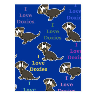 I Love Doxies collage Postcard