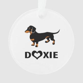 I Love Doxies - Cute Black and Tan Dachshund Ornament