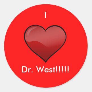 I Love Dr. West Classic Round Sticker