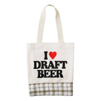 I LOVE DRAFT BEER ZAZZLE HEART TOTE BAG