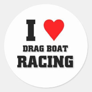 I love Drag Boat Racing Classic Round Sticker