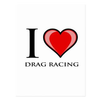 I Love Drag Racing Postcard