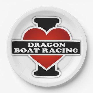 I Love Dragon Boat Racing Paper Plate