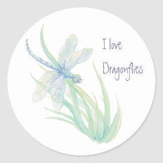 I love  Dragonflies in Blue and Green Classic Round Sticker