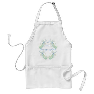 I love  Dragonflies in Blue and Green Watercolor Adult Apron