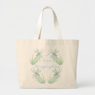 I love  Dragonflies in Blue and Green Watercolor Jumbo Tote Bag