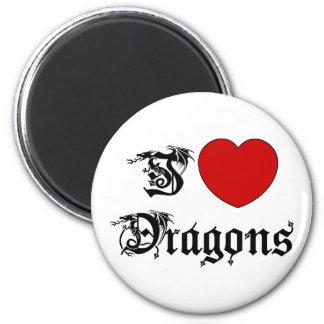 I Love Dragons 2 Inch Round Magnet
