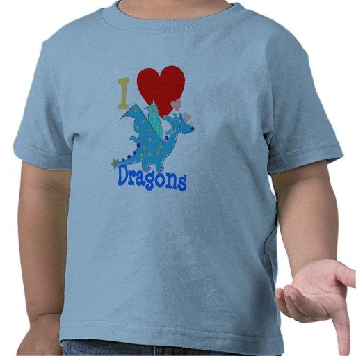 I Love Dragons Blue Dragon Cartoon T Shirts