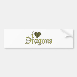 I Love Dragons Bumper Sticker