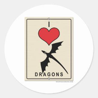 I Love Dragons Classic Round Sticker