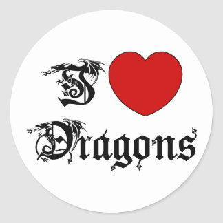 I Love Dragons Classic Round Sticker
