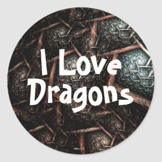 I LOVE DRAGONS Earth Texture Stickers