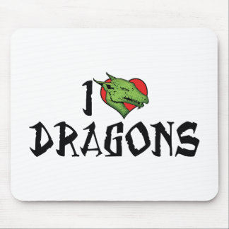 I Love Dragons Mouse Pad