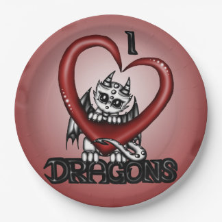 I love Dragons Paper Plate