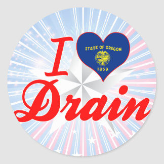 I Love Drain, Oregon Round Stickers