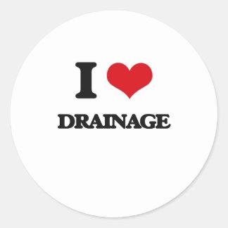 I love Drainage Round Sticker