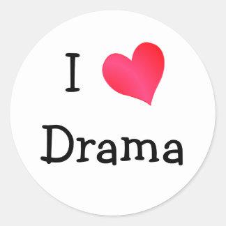 I Love Drama Classic Round Sticker