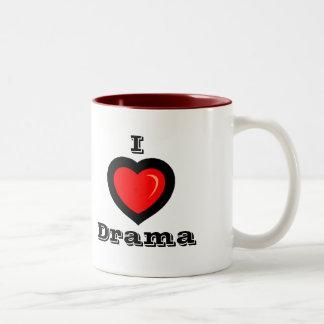 I Love Drama with drama masks on back Mug