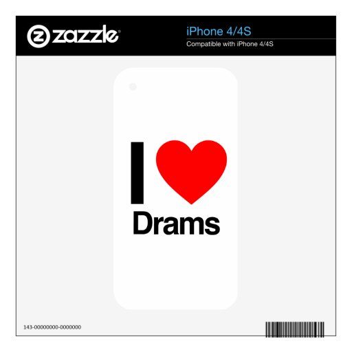 i love drams iPhone 4S decals