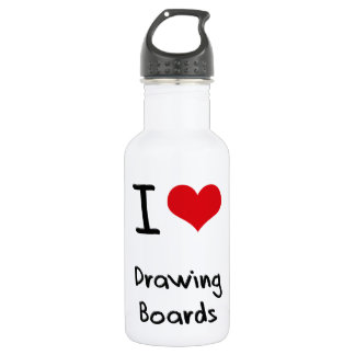 I Love Drawing Boards 18oz Water Bottle
