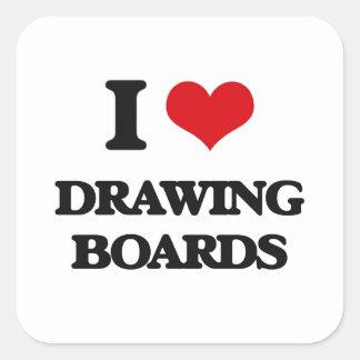 I love Drawing Boards Square Sticker