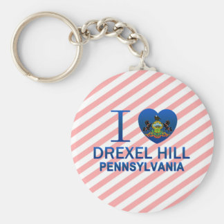 I Love Drexel Hill, PA Basic Round Button Keychain