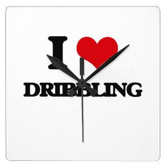 I love Dribbling Square Wallclocks